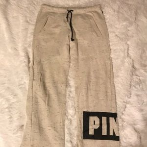 PINK, Off-white Boyfriend Pants with Pockets Small